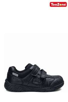 ToeZone Black Chase Dinosaur School Shoes
