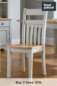 Set of 2 Kingston Rustic Pine and Grey Dining Chairs By Lloyd Pascal