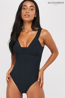 Accessorize Black Lexi Plunge Shaping Swimsuit
