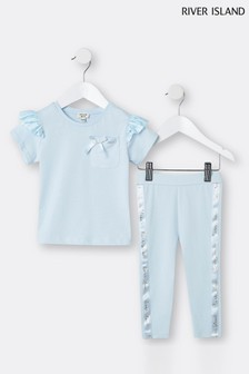 River Island Blue Satin Frill T-Shirt And Legging Set
