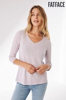 FatFace Purple Kemi 3Qtr Organic Cotton T-Shirt