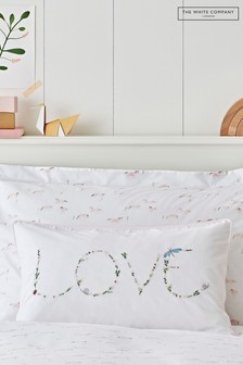 The White Company White Filled Love Embroidered Cushion Cover And Pad