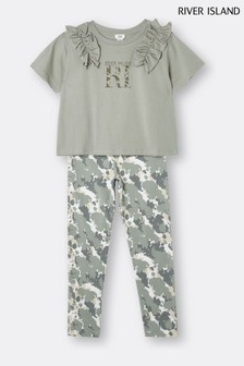 River Island Khaki Frill T-Shirt And Camo Leggings Set