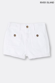 River Island White Pocket Mom Shorts