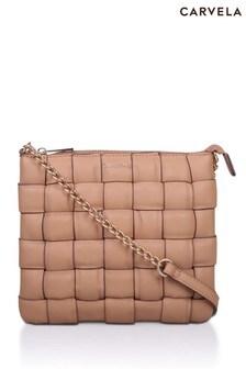Carvela Camel Lexi Weave Pouch Cross-Body Bag
