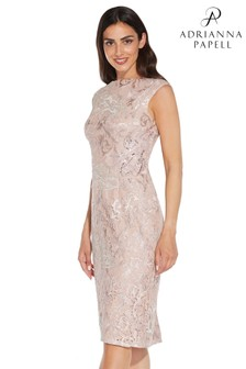 Adrianna Papell Pink Embroidered Lace Midi Dress