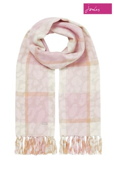 Joules Cream Bracken Contrast Check Woven Warm Handle With Printed Reverse Scarf