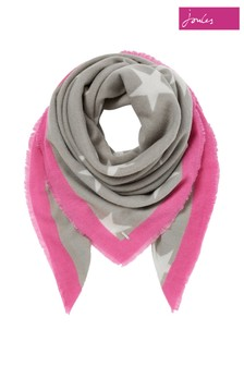 Joules Grey Willow Brushed Soft Handle Printed Scarf