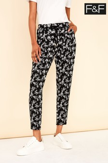 F&F Black Printed Tapered Trousers
