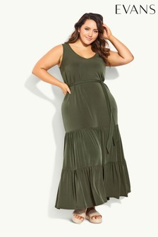 Evans Green Tiered Sleeveless Maxi Dress