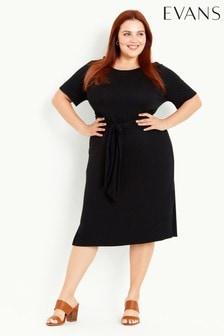 Evans Black Tie Front Plain Dress