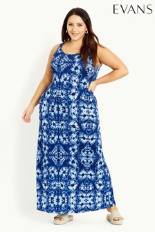 Evans Blue Tie Dye Maxi Dress