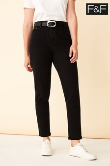 F&F Black Belted Mom Jeans