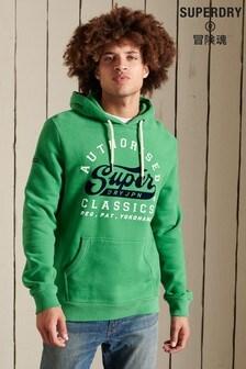 Superdry Green Script Style College Hoodie