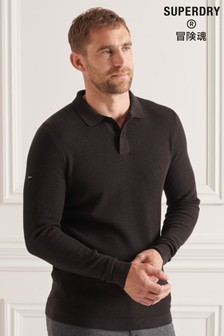 Superdry Black Studios Long Sleeve Knitted Polo Shirt