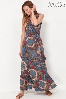 M&Co Blue Paisley Print Wrap Maxi Dress