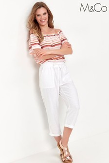 M&Co White Linen Crop Trousers