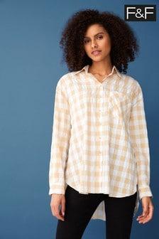 F&F Camel Gingham Neutral Shirt