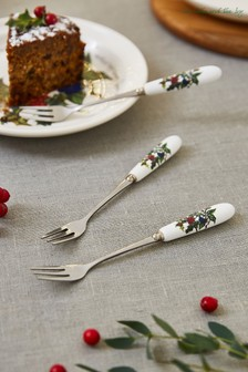 Set of 6 Portmeirion Holly & Ivy Pastry Forks