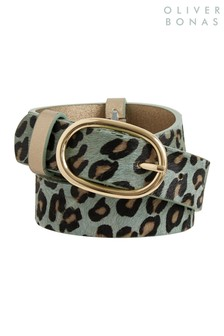 Oliver Bonas Green Pretty Green Animal Print Belt with Gold Keepers