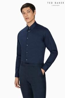 Ted Baker Sicily Navy Sateen Slim Shirt