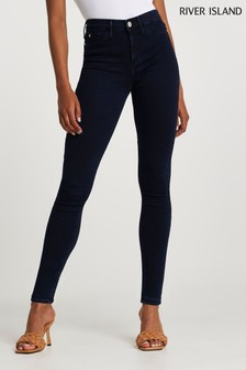 River Island Denim Dark Molly Mid Rise Crown Jeans