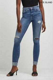 River Island Denim Medium Amelie Mid Rise Deejay Turn-Up Jeans