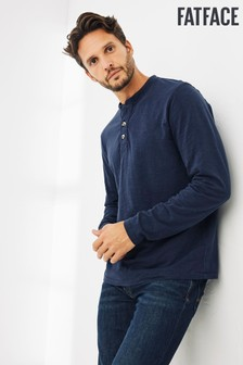 FatFace Mens Blue Blakeney Slub Henley T-Shirt
