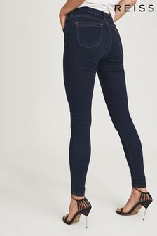 REISS Blue Lux Mid Rise Skinny Jeans