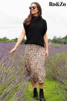 Ro&Zo Black Meadow Floral Skirt