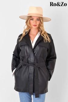 Ro&Zo Black Leather Shacket