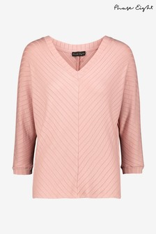 Phase Eight Pink Ana V-Neck Ribbed Top
