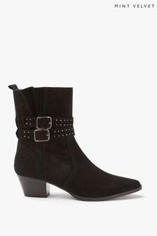 Mint Velvet Polly Suede Stud Cowboy Boots