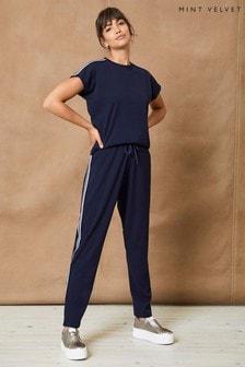 Mint Velvet Blue Stripe Jersey Jumpsuit