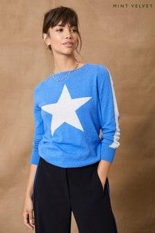 Mint Velvet Blue Star Crew Neck Jumper