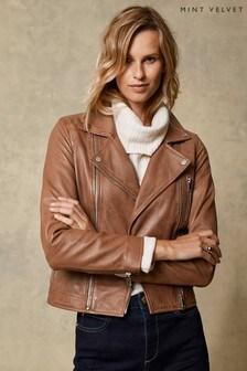 Mint Velvet Tan Leather Zip Biker Jacket