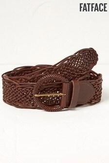 Fat Face Brown Wide Leather Plait Belt