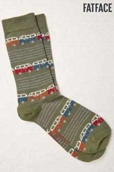 Fat Face Green Camper Stripe Socks
