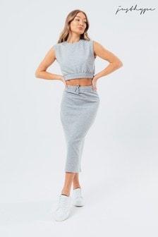 HYPE. Grey Sweat Crop tee and Midi Skirt Women's Loungewear Set