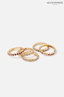 Accessorize Red Berry Blush Bezel Eternity Ring Set