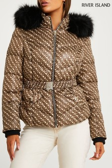 River Island Brown Light Short Belted Fitted Padded Jacket