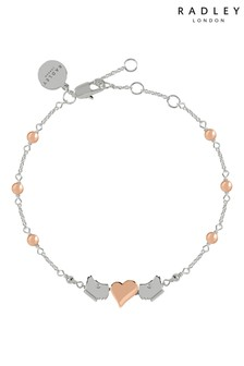 Radley Two Tone Bobble Moving Dog and Heart Charms Bracelet