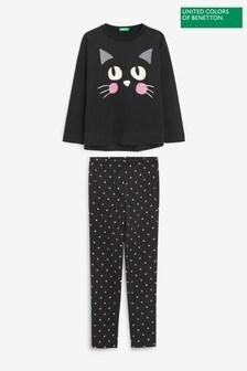 Benetton Younger Girls Black Under Colours Kitty Pyjamas