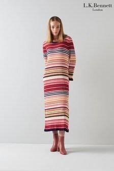 L.K. Bennett Pink Lillian Space Dye Stripe Knit Dress