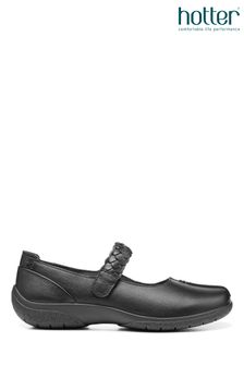 Hotter Black Shake Ii Wide Fit Touch Fastening Mary Jane Shoes