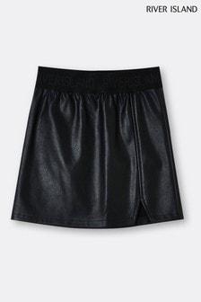 River Island Black Elastic Waistband PU Skirt