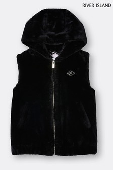 River Island Black Hooded Faux Fur Gilet