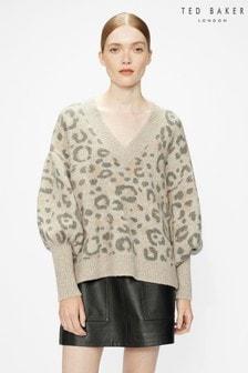 Ted Baker Alicina Animal Jacquard V Neck Sweater