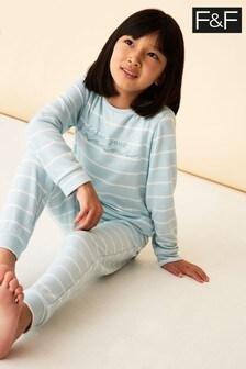 F&F Blue Stripe Follow Your Dreams Pyjamas