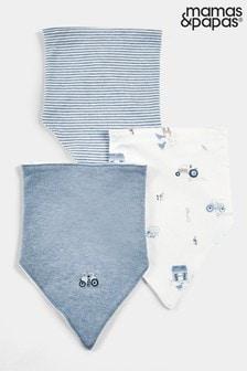 Mamas & Papas Blue Printed Bibs 3 Pack